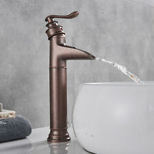 Bathroom Single Handle Vessel Sink Faucet Waterfall  Antique Copper Countertop
