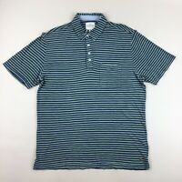 NWT True Grit Green & Blue Striped Short Sleeve Polo Shirt with Pocket Size XL