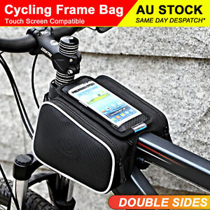 Cycling Bike Frame Bag Double Pannier Set Sided Moible Phone Holder Waterproof
