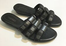 Antia Women's Black Heels Sandals Slip On Leather 9 M