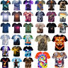 3D T-Shirt Tiger Horse Cat Animal Pattern Men Crew Summer Short Sleeves Tees Top