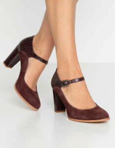 Clarks UK Size 5 /38 Kaylin Alba Burgundy Combi Leather Suede Plus Cushion S6E3