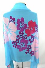 B77 Hawaiian Tropical Flower Aqua Turquoise Blue Green Pink Purple Scarf $74