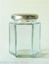X 72 8oz /196ml HEXAGONAL GLASS JAM JARS HONEY PRESERVE CHUTNEY PICKLES CANDLE