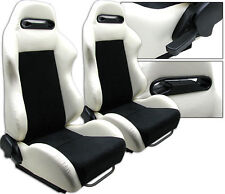 NEW 1 PAIR WHITE PVC LEATHER & BLACK SUEDE ADJUSTABLE RACING SEATS FOR HONDA
