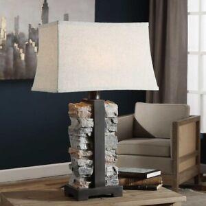 """KODIAK 29"""" MOLDED CONCRETE STACKED STONES DESIGN TABLE LAMP UTTERMOST 27806"""