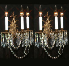 2 Vintage brass Bronze Crystal wall Sconces Rococo French Spanish Hollywood Rege