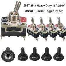 5Pcs SPST 2Pin Heavy Duty 15A 250V ON/OFF Rocker Toggle Switch Waterproof Boot