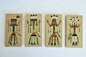 4 VTG   Sand Painting Medicine Man Indian Art Collectable