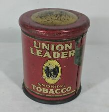 "JM Antique 1910 Tobacciana Union Leader Smoking Tobacco Tin 6"" Container Decor"