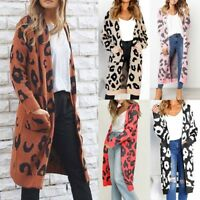 Women Ladies Knitted Leopard Print Long Sleeve Cardigan Pockets Sweater Overcoat