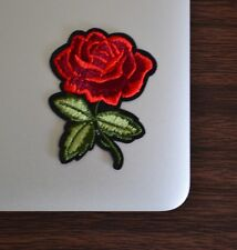 Red Rose Leaf Stem Flower Iron on Applique/Embroidered Patch Fabric Craft Sew