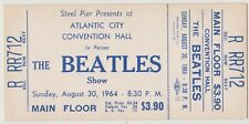 RARE BEATLES 1964 UNUSED CONCERT TICKET AUGUST 30, 1964 STEEL PIER ATLANTIC CITY