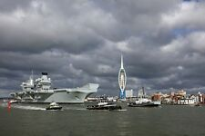Postcard RN Aircraft Carrier HMS Queen Elizabeth Leaves Portsmouth for the