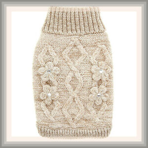 Top Paw Soft Gray Bronze Gold Sparkle Flower Cable Knit Turtleneck Dog Sweater S