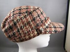 Brown Black plaid hat newsboy ladies hat cap cadet fidel WOOL baseball winter