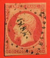 FRANCE EMPIRE NON DENTELE N° 17Ac Carmin (-TB 958-5) OBLITERE Bien COTE
