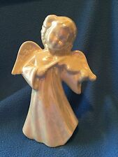 Hand Crafted Violin Angel with iridescent white glaze, Vintage