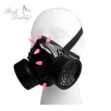 Cyber Gasmaske m PVC-Nieten pink *maske*rosa*lila*uv-aktiv*steam punk*gas*techno