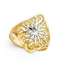 Fashion Band Filigree Diamond Cut Solid 14k Yellow & White Gold Star Ring