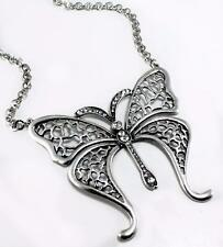 Large Butterfly Pendant Necklace Crystal Silver Link Vintage Style