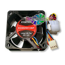 New Evercool EC6025H12BP 60mm x 25mm 4 Wire PWM CPU Fan + 3>4 pin Cable & Screws