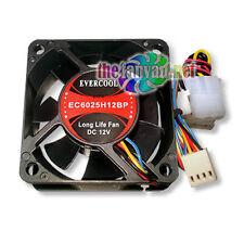 New Evercool EC6025H12BP 60mm x 25mm 4 Wire PWM CPU Fan + 3 4 pin Cable & Screws