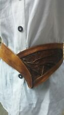 Vtg 80s Fiocchi Italy Tan Genuine leather Oktoberfest Belt. 28-30 Inch 10/12