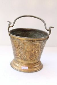 Antique Old Brass Islamic Urdu Arabic Engraved Golden Colored Holy Bucket NH3872
