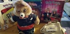 1985 Teddy Ruxpin Talking Bear Works + 4 outfits + 3 books + 4 tapes lot