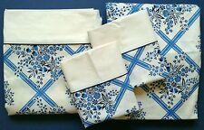 NEW Vtg. Wabasso 4 Piece QUEEN Bedsheet Set Blue Floral Lattice Pattern RARE!!