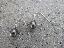 HONORA pear/tear drop STERLING SILVER pierced earrings/ear wires STEEL GREY
