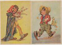Alte Künstlerkarten - trollige Kinder ! 2 Karten !