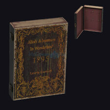 LG ANTIQUED ALICE IN WONDERLAND BOOK KEY BOX. GOTHIC LITERATURE. TIM BURTON
