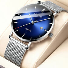 Men's Formal Analog Gradient Stainless Steel Mesh Band Ultra-Thin Quartz Watches