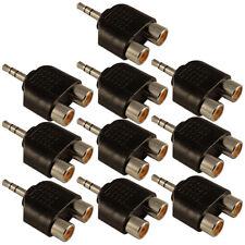 Conector estéreo mini Jack 3.5mm a RCA Fono Doble 2 x Adaptador Convertidor zócalos X 10