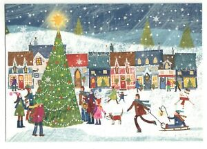 CITY TREE SCENE 4U Christmas Greeting Card w/ Envelope MG9