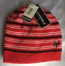 Zoo York Knit Reversible Beanie Hat Red Stripped
