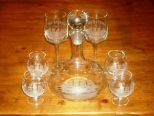 Tall Ships Decanter Dana Point Lantern Bay Commemorative 4 Brandy 2 Wine Glasses
