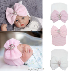 Hospital Newborn Soft Striped Hat With Bow Baby Girl Infant Child Beanie Cap New