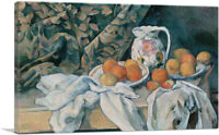 ARTCANVAS Still Life with a Curtain 1895 Canvas Art Print by Paul Cezanne