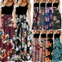 Women's Casual Sleeveless O-neck Print Solid Maxi Tank Summer Party Long Dress