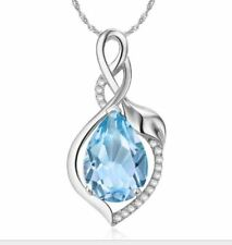 Crystal Topaz Necklace 925 Sterling Silver Chain Pendant Womens Jewellery Gift