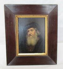 uralt - akademische Handmalerei Portrait eines alten Herren mit Barett auf Holz