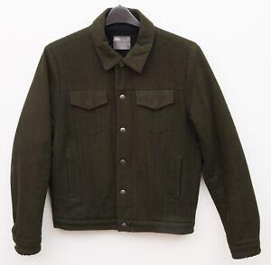 ASOS Men's S Wool Chore Worker Jacket Sherpa lined Green Utility Coat Shirt Work