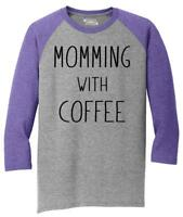 Mens Momming With Coffee 3/4 Triblend Mother Gift Shirt