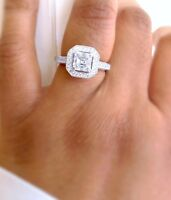 UK Seller -Genuine 925 Sterling Silver Ladies Asscher Cut Halo Engagement Ring