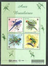BRAZIL 2001, WWF, BIRDS: PARROTS, Scott 2799, SOUVENIR SHEET, MNH