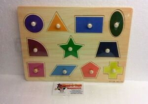 Large Wooden Sensory Colorful Geometric Peg Puzzles Educational Toy