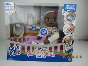 Baby alive as real as can be for ages 3+ with 80+expressions and movements